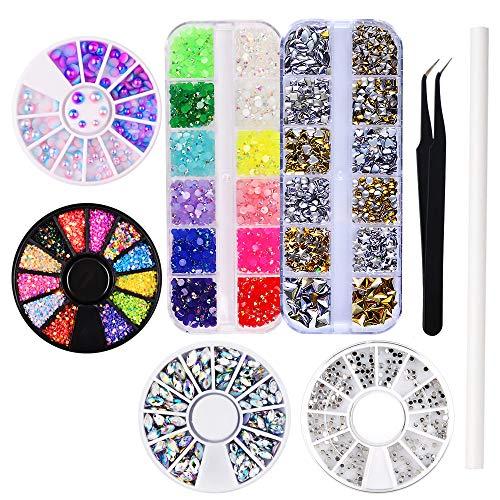 WOKOTO 6Pcs Colorful Nail Decoration Fake Diamond Nail Rhinestones Gems Fimo 3D Nail Art Kit For Nails Acrylic With Nail Tweezers And Rhinestone Picker Pencil