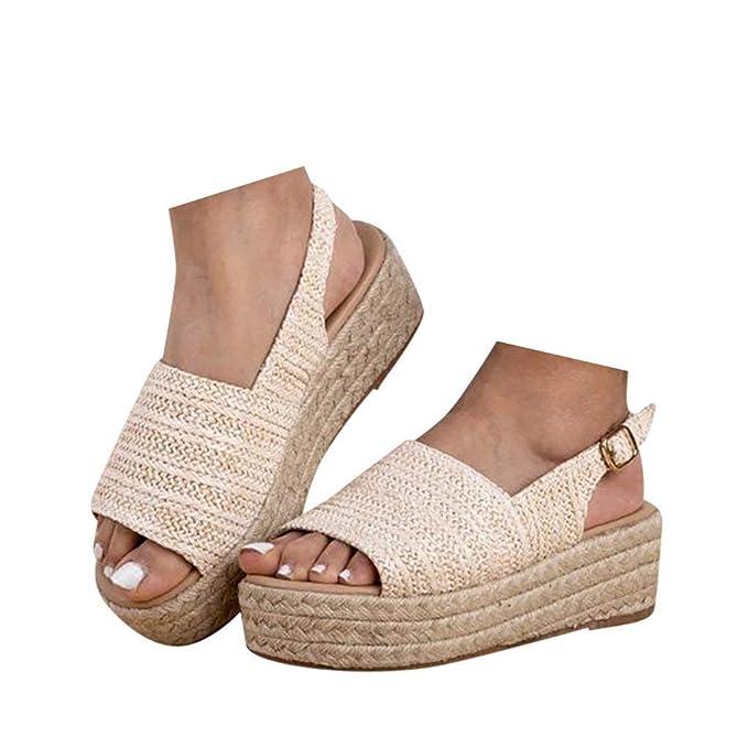 840a0091468c6 Amazon.com: Veodhekai Womens Thick Bottom Flats Shoes Open Toe Straw ...