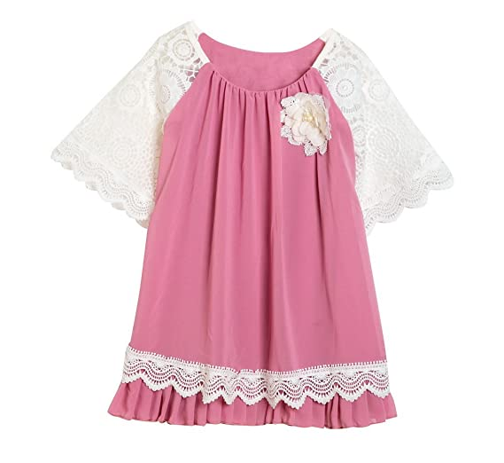 6bbef345aae Amazon.com: Kids Toddler Little Girls Lace Ruffled Chiffon Tunic Dress  T-Shirt Dress 3/4 Short Sleeve Pleated Casual Dress Rose Red XXL(7-8Year):  Clothing