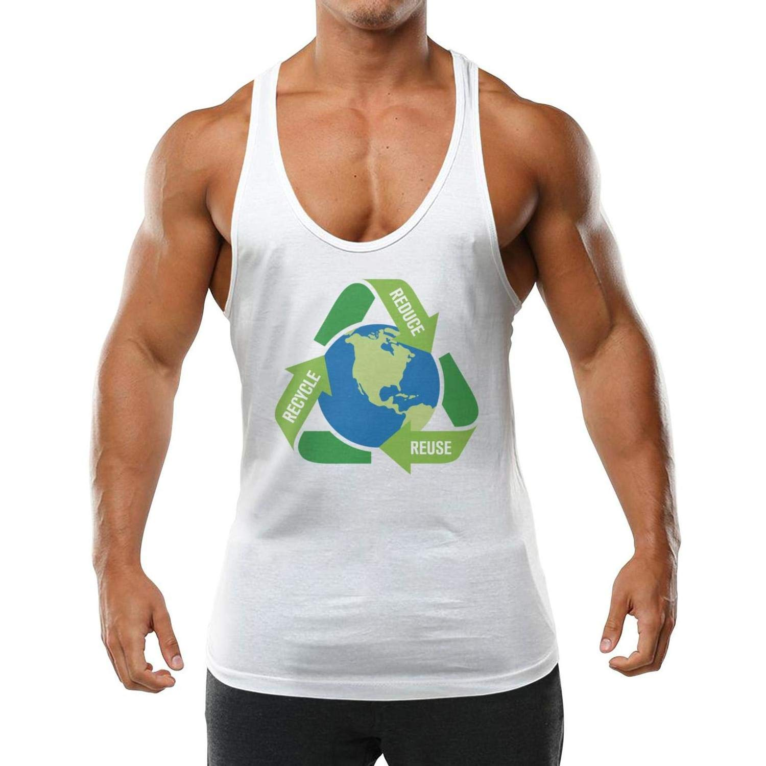 AIKYAN Mens Earth Day Reduce Reuse Recycle Slim Fit Vest Shirt