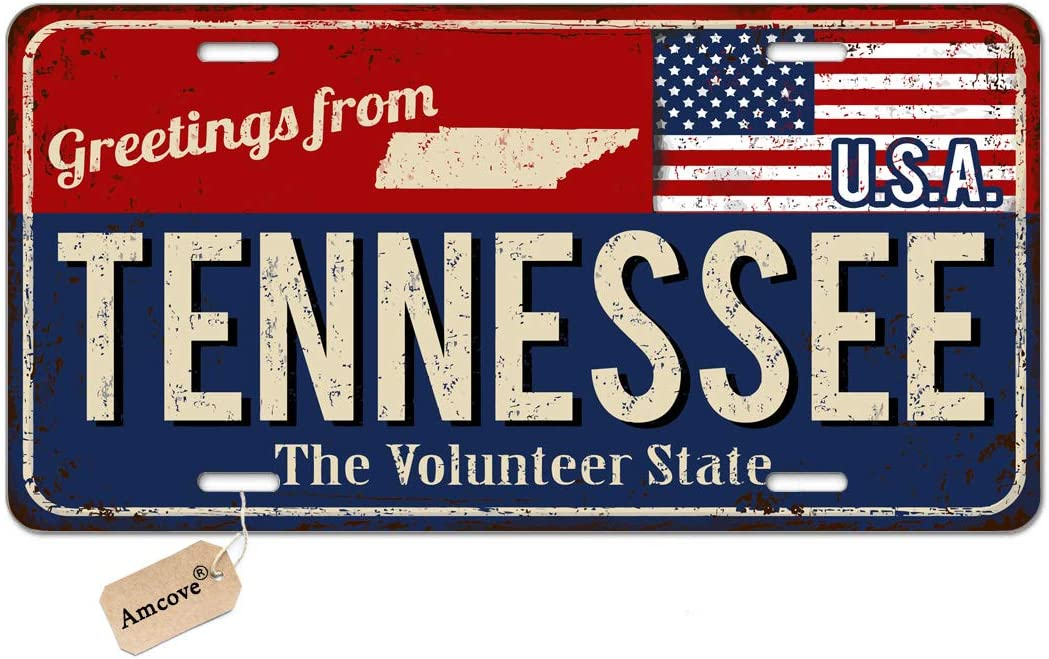 Front License Plate 6 x 12 inch Aluminum License Plate Amcove License Plate Greetings from West Virginia Vintage Rusty Metal Sign with American Flag Automotive high Gloss Metal License Plate