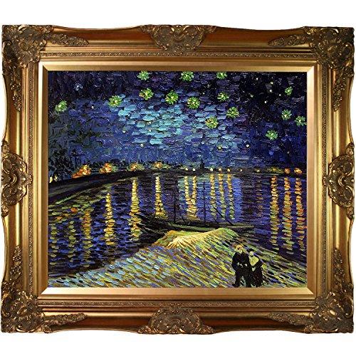 Art Rhone Framed (overstockArt Starry Night Over The Rhone Vincent Van Gogh Canvas Art, Victorian Gold Frame/Finish)