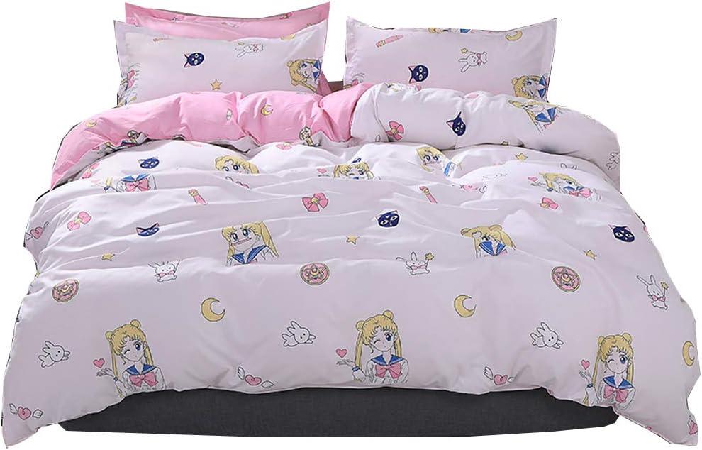 HOLY HOME Sailor Moon & Luna, Kid's Anime Idol Pink Duvet Cover Set Birthday Gift Bedding 4 Pieces (Queen, Sailor Moon & Luna)