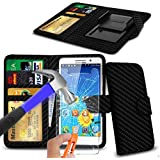 N4U Online® - Carbon Fibre Clip On PU Leather Wallet Case Cover & Tempered Glass For Archos 50 Power