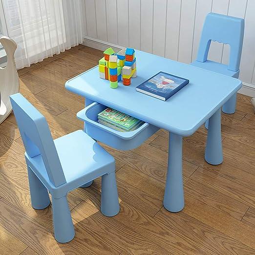 GYiYi Mesa Escritorio Infantil Niño, con Cajones Y 2 Sillas, Mesa De Comedor Preescolar, Juegos, Pintura, Lectura (70 Cm * 55 Cm): Amazon.es: Hogar