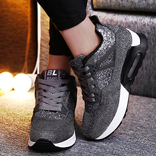 Increased Breathable Womens Sequins Sport Heel Wedge Canvas Grey Sneaker Shoes Sneakers Lace Shiny Btrada Up Deep S5z1wqw
