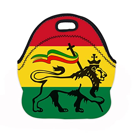 3d1d3eb7f7bf Amazon.com - MOSDELU Boys Girls Rasta Lion Lunch Bag Insulated Lunch ...