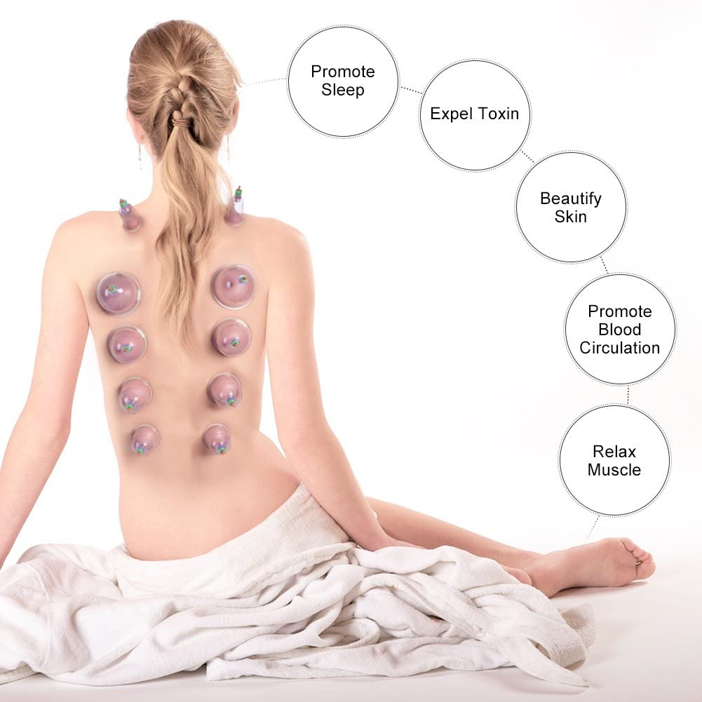 Ensemble de th/érapie par vide sous vide 12 Pcs Transparent Chinois sous th/érapie de massage par Th/érapie Massage par ventouses Ensemble pour soulagement de la douleur du visage Lifting Anti-/Âge R/édui