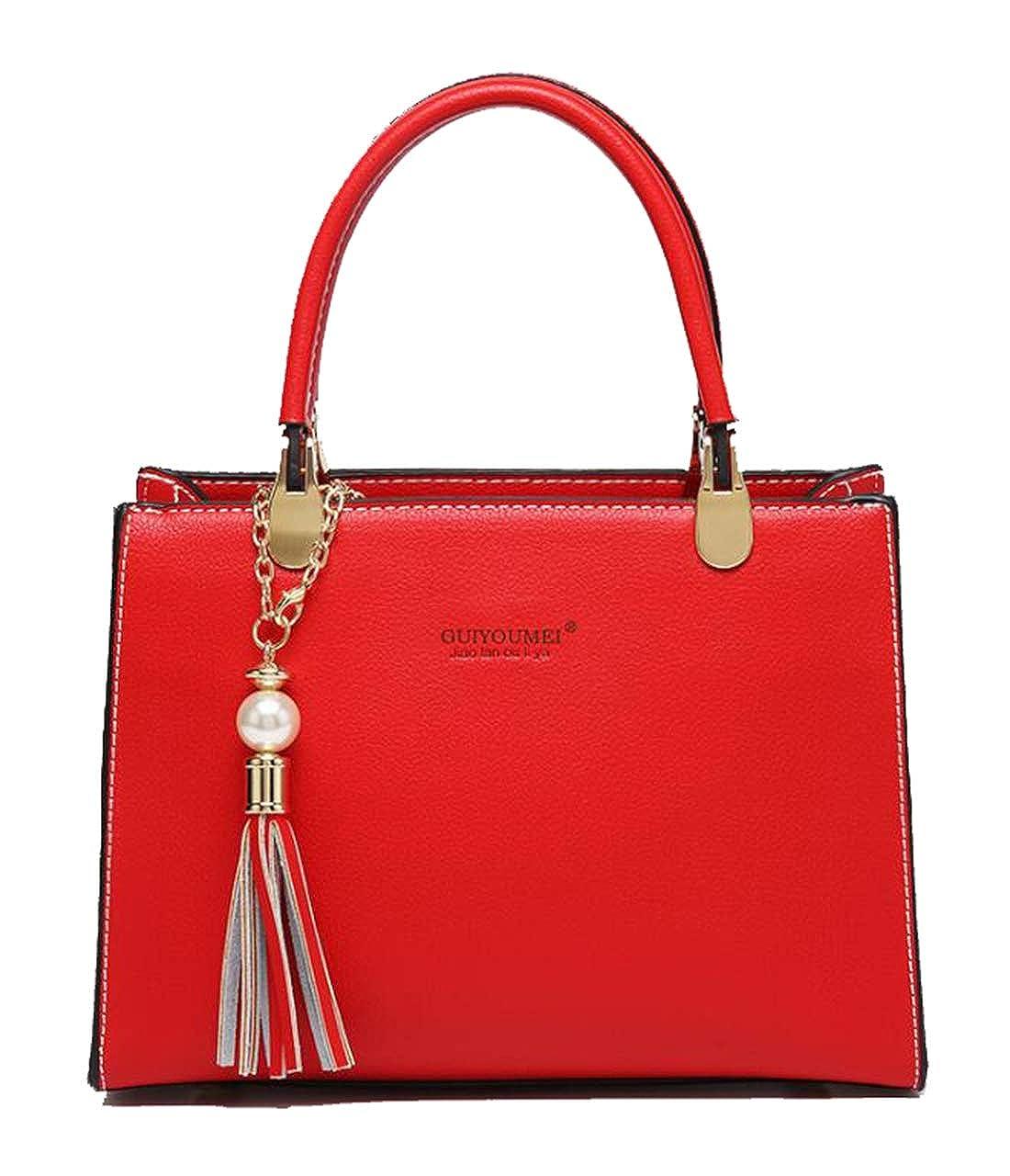 Red 18 Yan Show Women's PU Satchel Elegant Handbag Shoulder Bag Top Handle Bag Purse