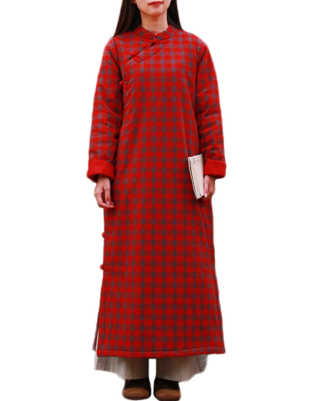 Women's Retro Chinese Qipao Quilted Cotton Red Plaid Dress Winter Warm Dresses