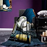 smallbeefly Western Digital Printing Blanket Equestrian Backdrop with Antique Horseshoe Hat Cowboy Texas Photography Summer Quilt Comforter Blue Brown and Beige