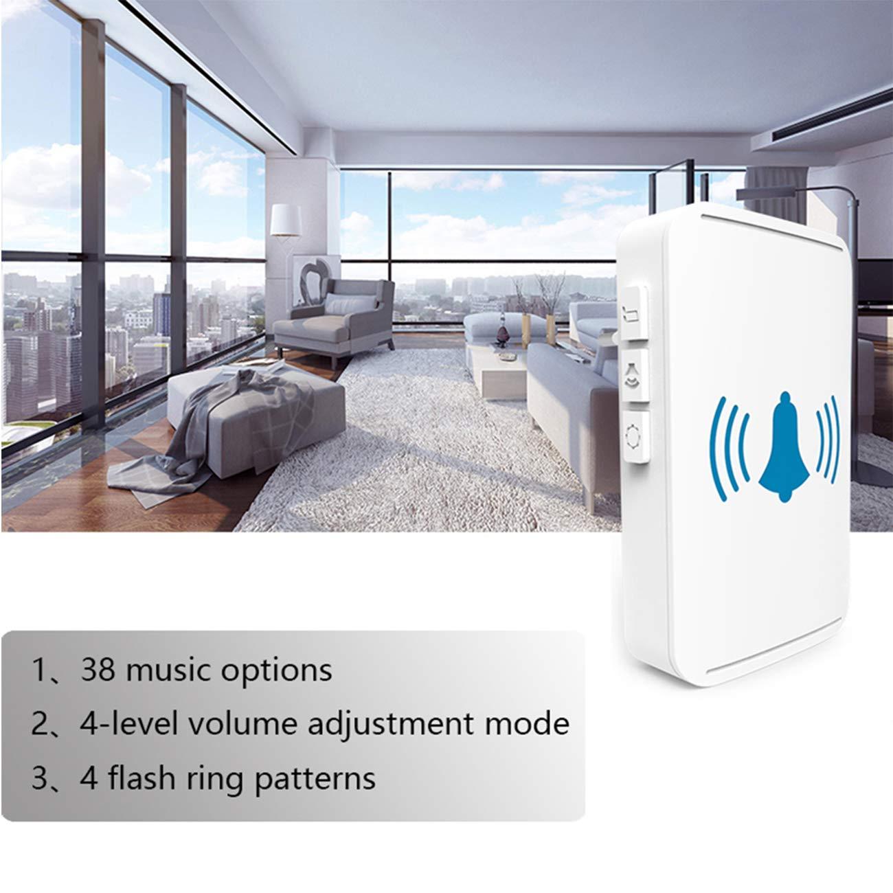 Impermeable IP44 con LED Flash No requiere bater/ía 1 Transmisor y 1 Receptores YLX Timbre Inal/ámbrico para Puerta Blanco