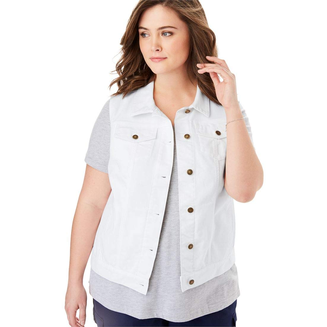 Woman Within Plus Size Stretch Denim Vest - White, 38 W