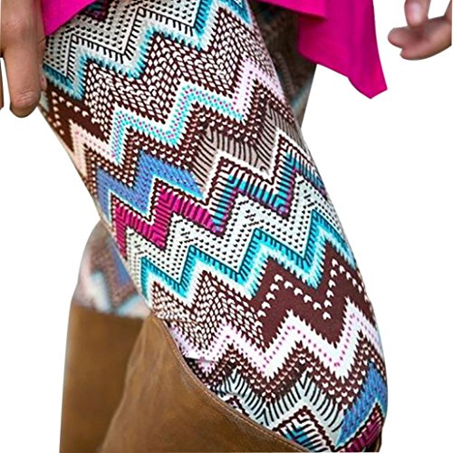 Geometric Print Leggings (Perman Women Lady Skinny Geometric Print Stretchy Jegging Pants Slim Leggings (XL, Coffee B))