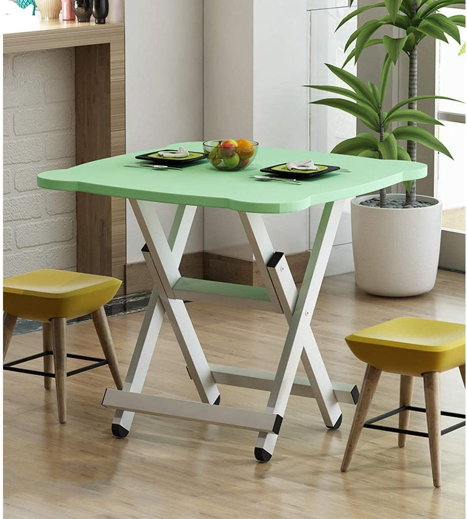 Color : Blue, Size : Height: 50 cm XG Folding Flower Pattern Square Table,White Bracket,Household Suitable For Small Table For 4 People