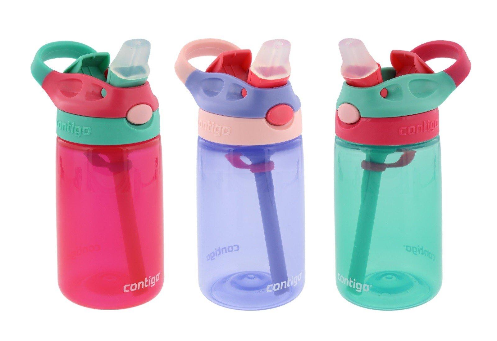 Contigo Kids Autospout Gizmo Water Bottles, 14oz (Cherry Blossom, Persian Green, & Lavender)