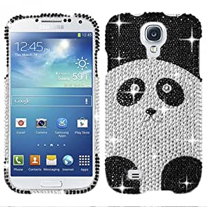 Silver Black Panda Bear Bling Rhinestone Crystal Case Cover For Samsung Galaxy S 4 with Free Pouch
