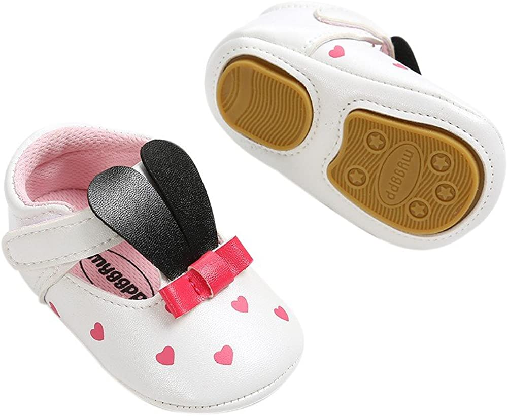 Infant Baby Girl Mary Jane Flats Rabbit Bow Pink Dress Shoes