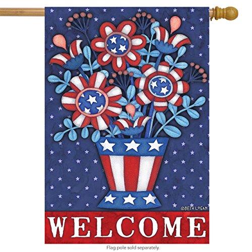 Briarwood Lane Patriotic Planter Welcome House Flag Floral Fourth of July Primitive 28