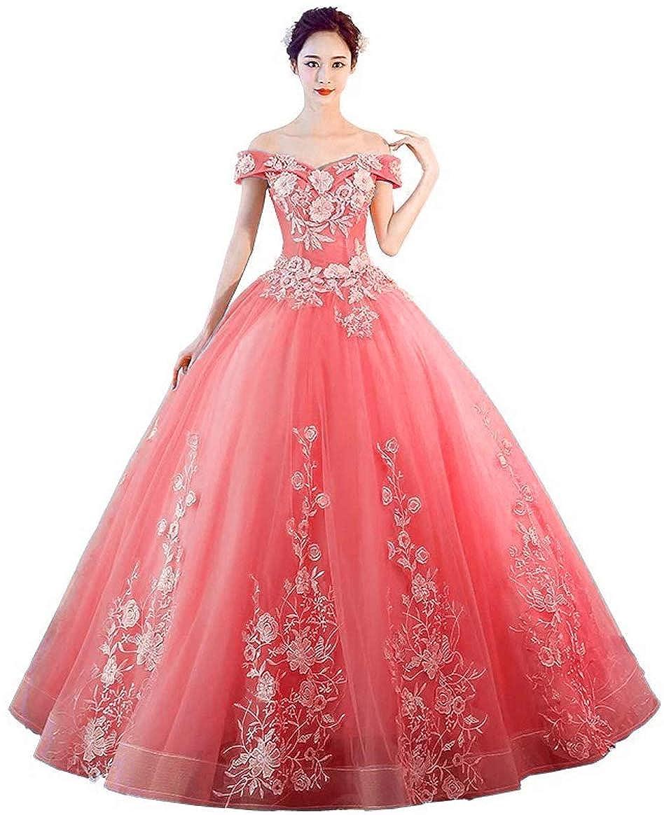 Coral Jingliz Off The Shoulder Quinceanera Dresses Applique Masquerade Ball Gowns Prom Dresses