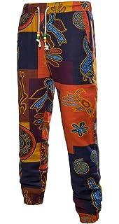 WAWAYA Mens Slim African Printed Drawstring Straight Leg Linen Jogger Pants