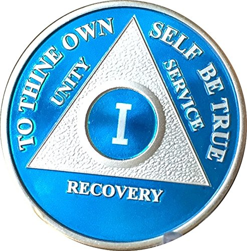 (wendells 1 Year Blue Silver Plated AA Alcoholics Anonymous Medallion Chip Vinyl Protector)