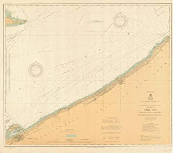 Amazon Com Vintography Reprinted 8 X 12 Nautical Map Of Lake Erie