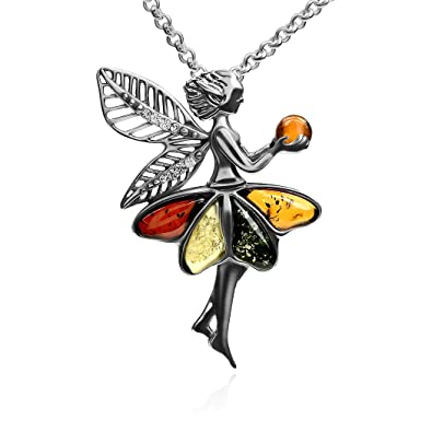 Mehrfarbiger amber sterling silver fairy pendant necklace chain 46 mehrfarbiger amber sterling silver fairy pendant necklace chain 46 cm aloadofball Image collections