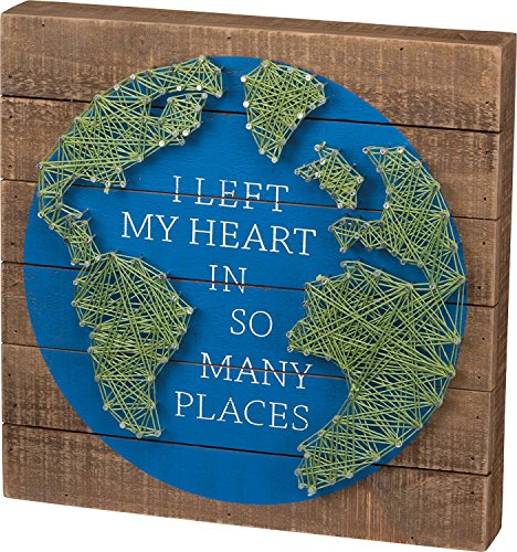 Primitives by Kathy I Left My Heart in So Many Places- Global Themed String Art Plank Board Box Sign - -