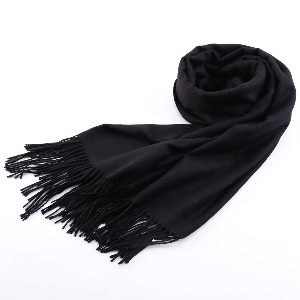 Womens Pashmina Shawl Wrap Scarf - Ohayomi Solid Color Cashmere Stole Extra Large 78''x28'' (Black) by OHAYOMI (Image #7)