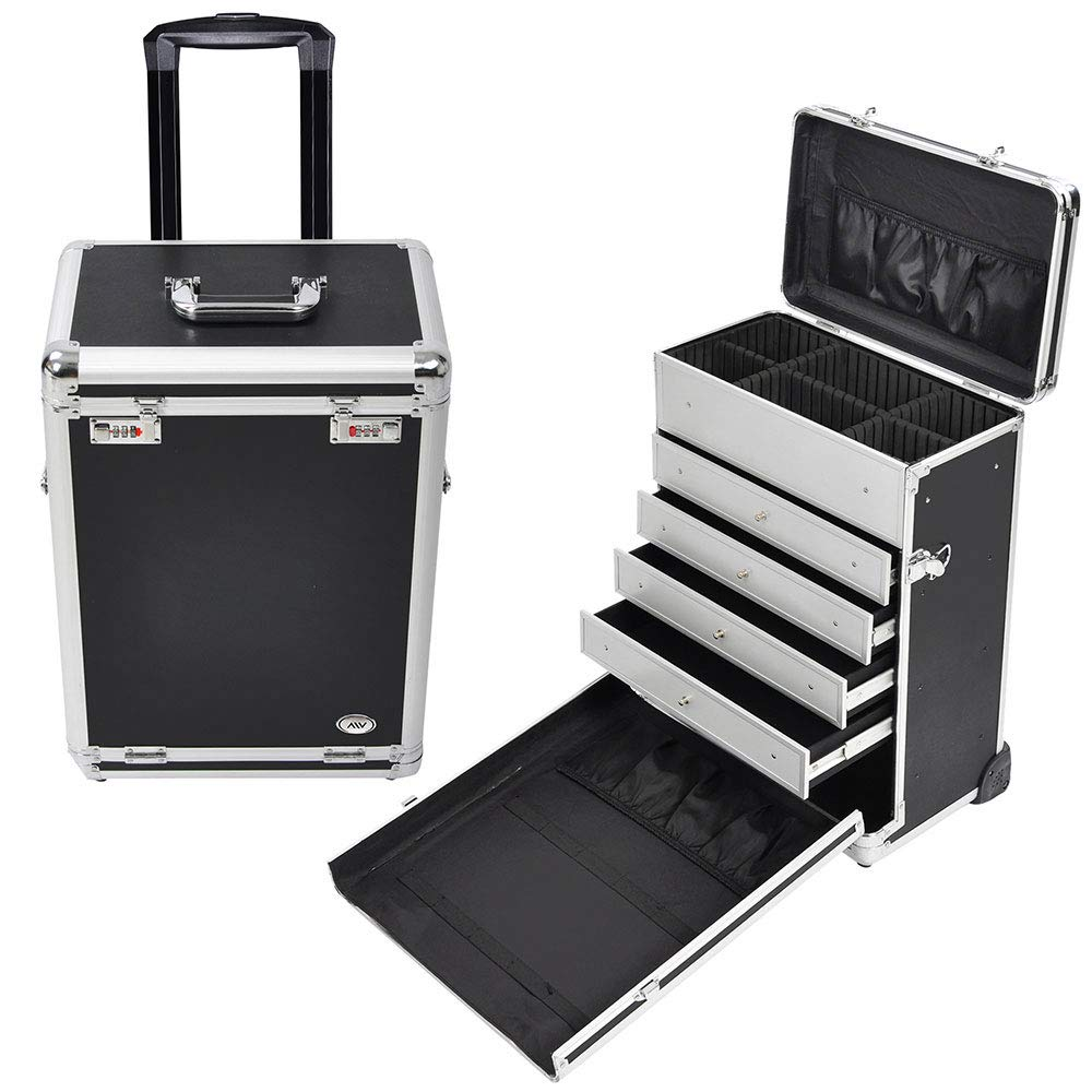 "AW Pro Rolling Jewelry Makeup Case w/Drawers Code Lock Aluminum Portable Display 14x9x20"" Black Box"