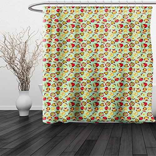 HAIXIA Shower Curtain Owls Cheerful Sweet Childhood Theme Stylized Ornate Birds Nostalgic Vintage Kids Pattern Multicolor (Halloween Miami Zoo)