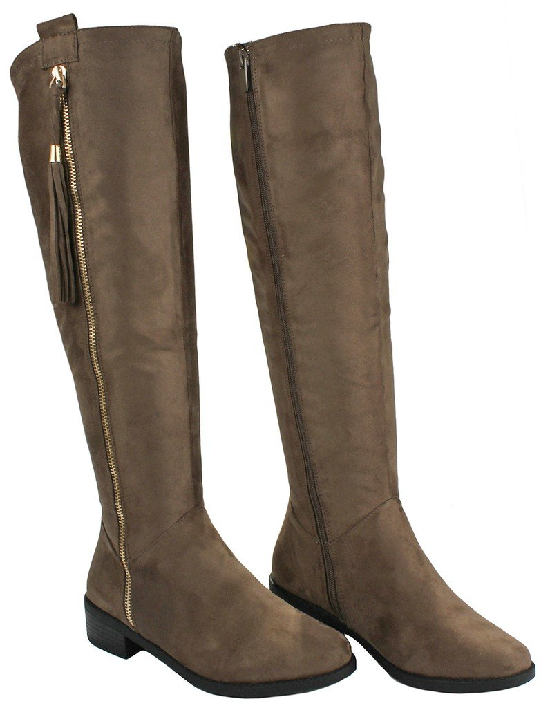 JJF Shoes Women Greta1 Taupe Tassel Faux Suede Gold Decorative Zip Quilted Knee High Boots-7.5 by JJF Shoes (Image #3)