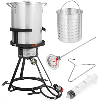 Amazon.com: 30 QT Aluminum Turkey Deep Fryer Pot and Gas Stove Burner Stand, 6 Pc Set: Home & Kitchen
