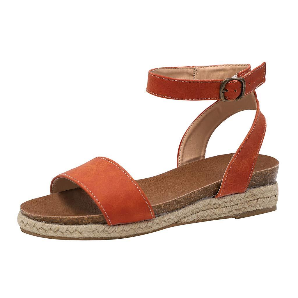 SSYUNO Womens Platform Sandals Summer Comfy Espadrille Slide-on Open Toe Ankle Strap Beach Travel Roman Flat Shoes Orange by SSYUNO