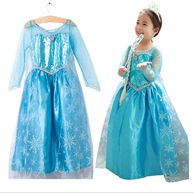 Ogquaton Elegante Niño Reina de Nieve Elsa Disfraz Princesa Vestido de Princesa Vestido Brillante para Fiesta de Halloween Use 1Set