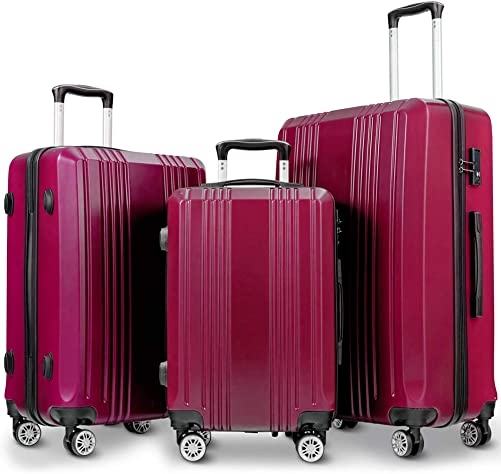 Durable Luggage Sets,Lightweight 3 piece Luggage Sets Hardshell Spinner Suitcase with TSA Approved Locks