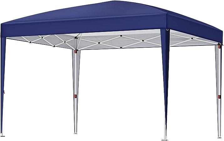 SONGMICS Carpa marquesina de 3 x 3 m, Anti-UV, Carpa toldo Pop up con Bolsa de Transporte, Portátil para Fiestas, jardín, al Aire Libre, Azul GCT10IN