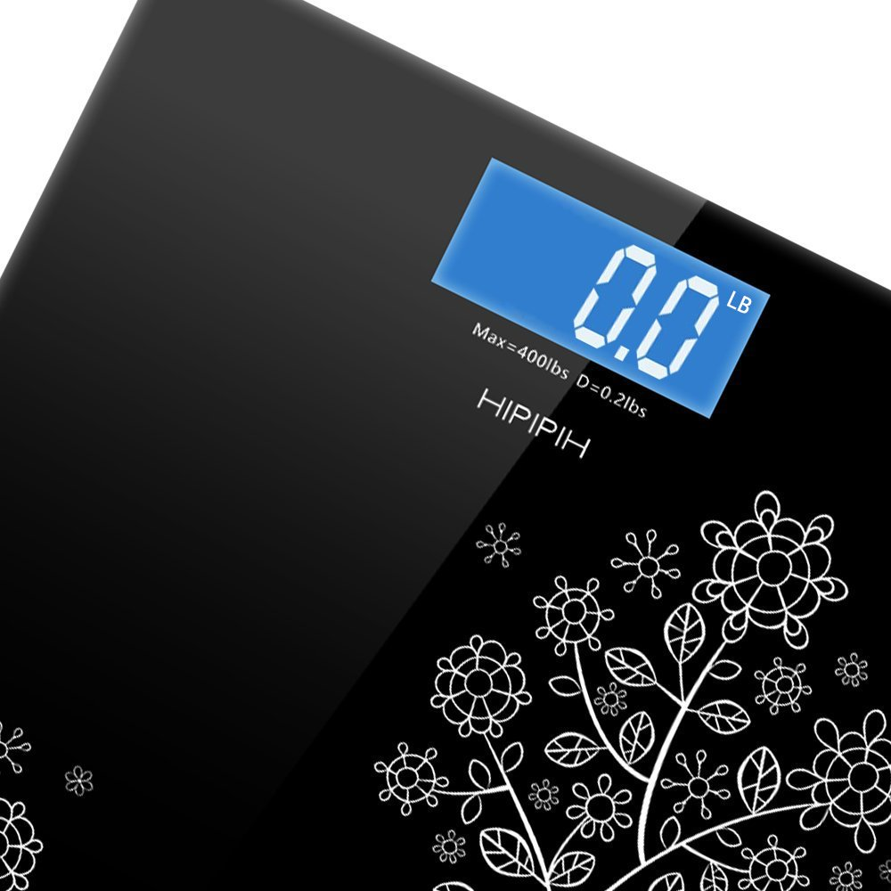 400lb / 180kg Digital Body Weight Bathroom Scale with Step-On Technology and Tempered Right Angle Glass Balance Platform … (Black-F)