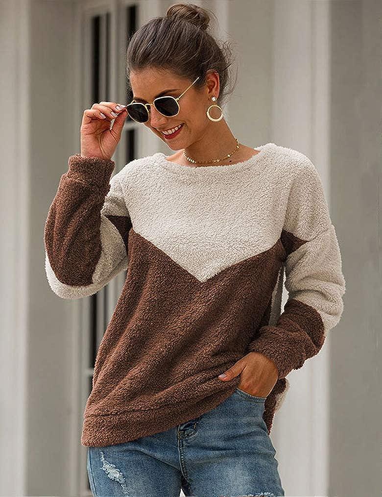 Naggoo Womens Fleece Sherpa Fuzzy Warm Casual Loose Lightweaght Pullover Colorblock Sweatshirt Outwear