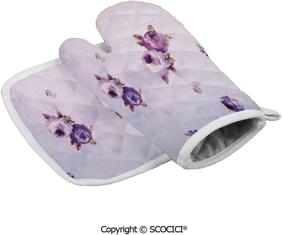 SCOCICI Oven Glove Microwave Glove Floral Pattern with Roses in Purple Color Dreamy Clouds Retro Soft Pale Barbecue Glove Kitchen Cooking Bake Heat Resistant Glove Combination