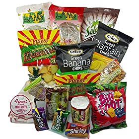 DJs SnackShack – Care Package 35 Count, Assortment of Caribbean Chips, Cookies, Candies, Crackers and More