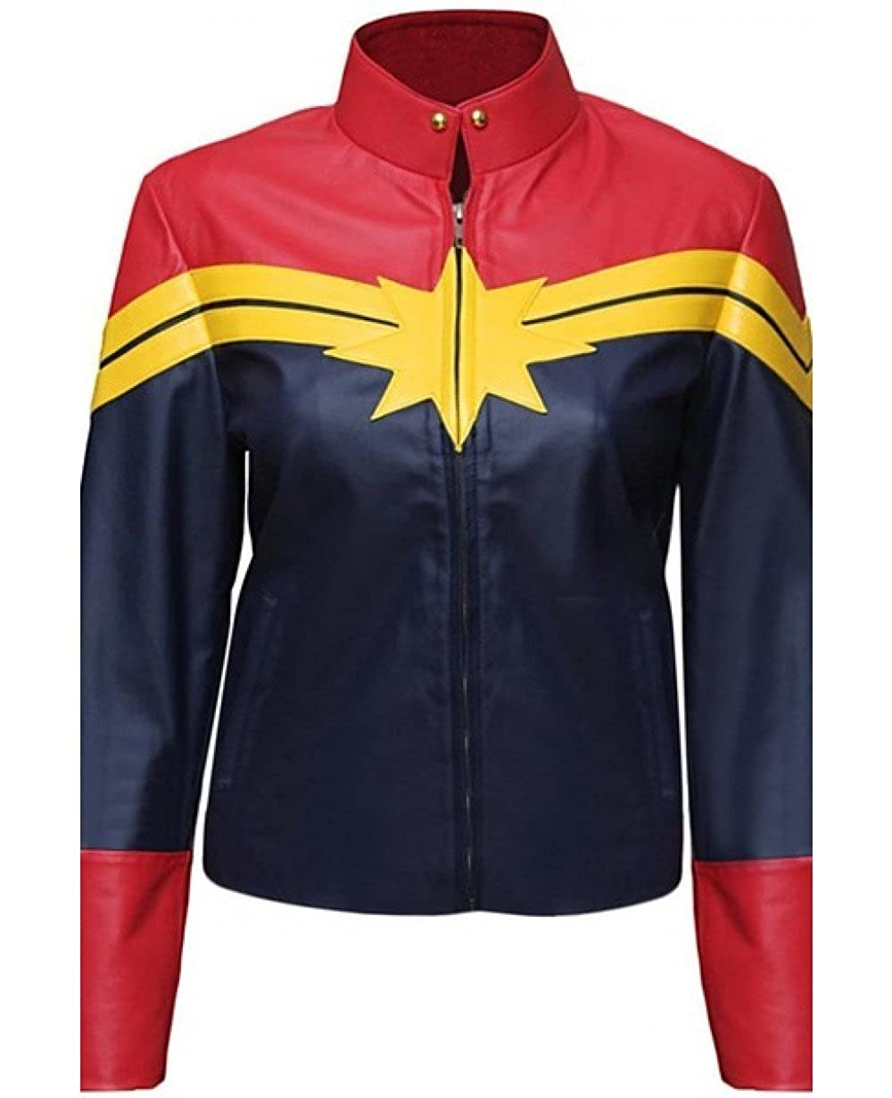 Captain Marvel Carol Danvers Red and Blue Women's Leather Jacket