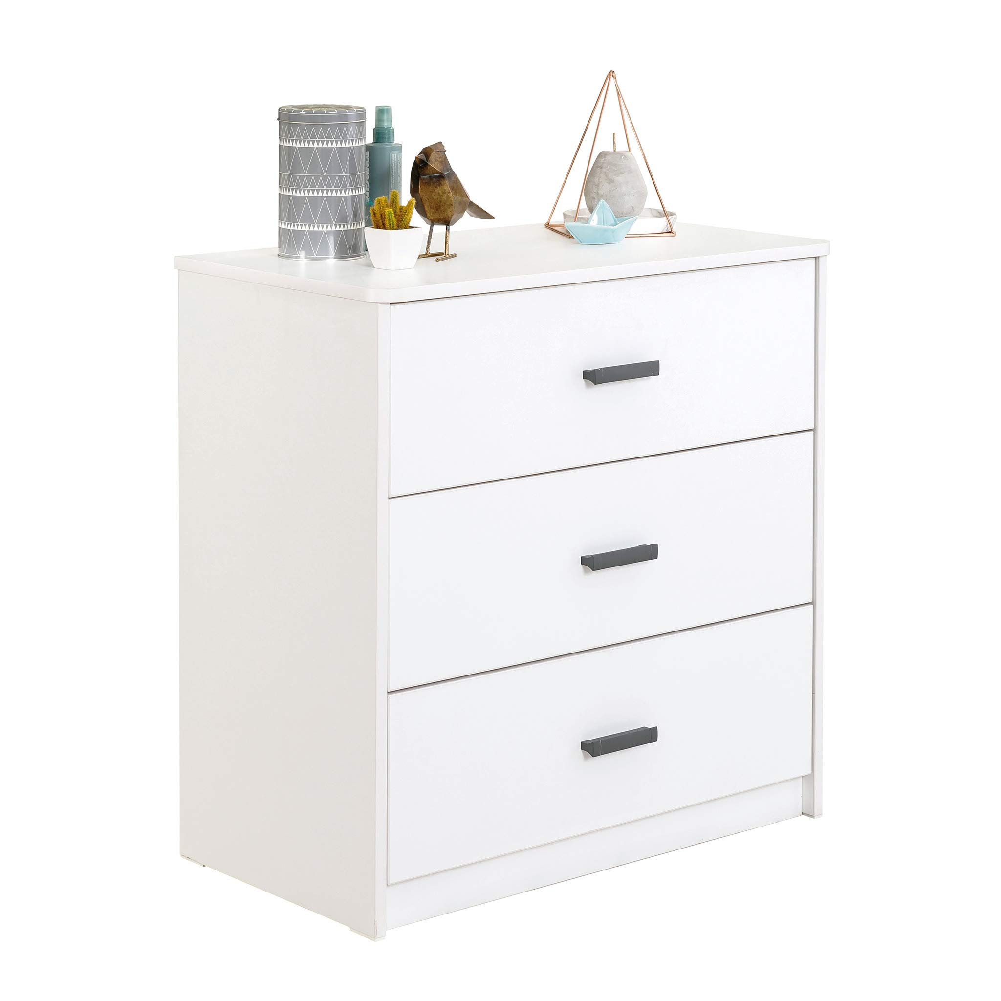 Cilek White Collection 3 Drawer Chest, Dresser for for Kids and Teens, Unisex,