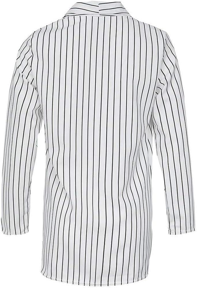 Scrolor Womens Striped Elegant Business Office Long Jacket Cardigan Long Sleeve Lapel Fashion Open Blazer Jacket Autumn Classic Casual Side Pockets Suit Jackets for Business Office