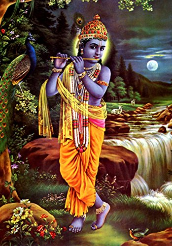 Lord Krishna Radha POSTER A4 Playing Flute Beautiful India Hindu Indian Print Wall Art Image Oriental Art Picture Painting (Beautiful Images Of Lord Krishna And Radha)