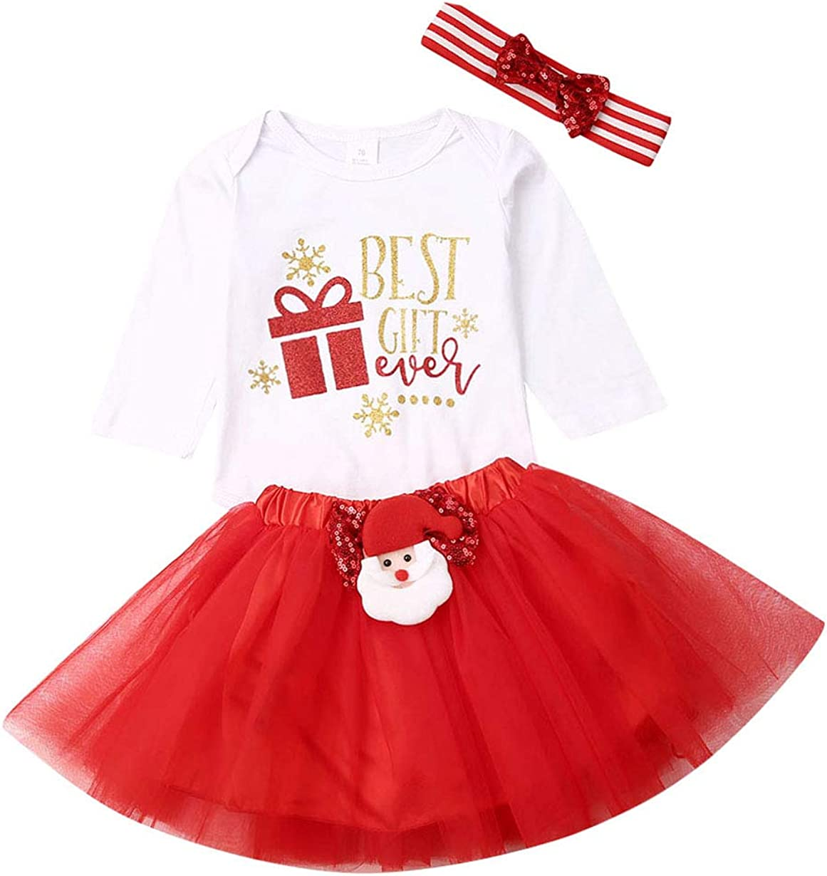 Tabpole Newborn Baby My 1st Christmas Romper Jumpsuit Outfit Headband Xmas Clothes