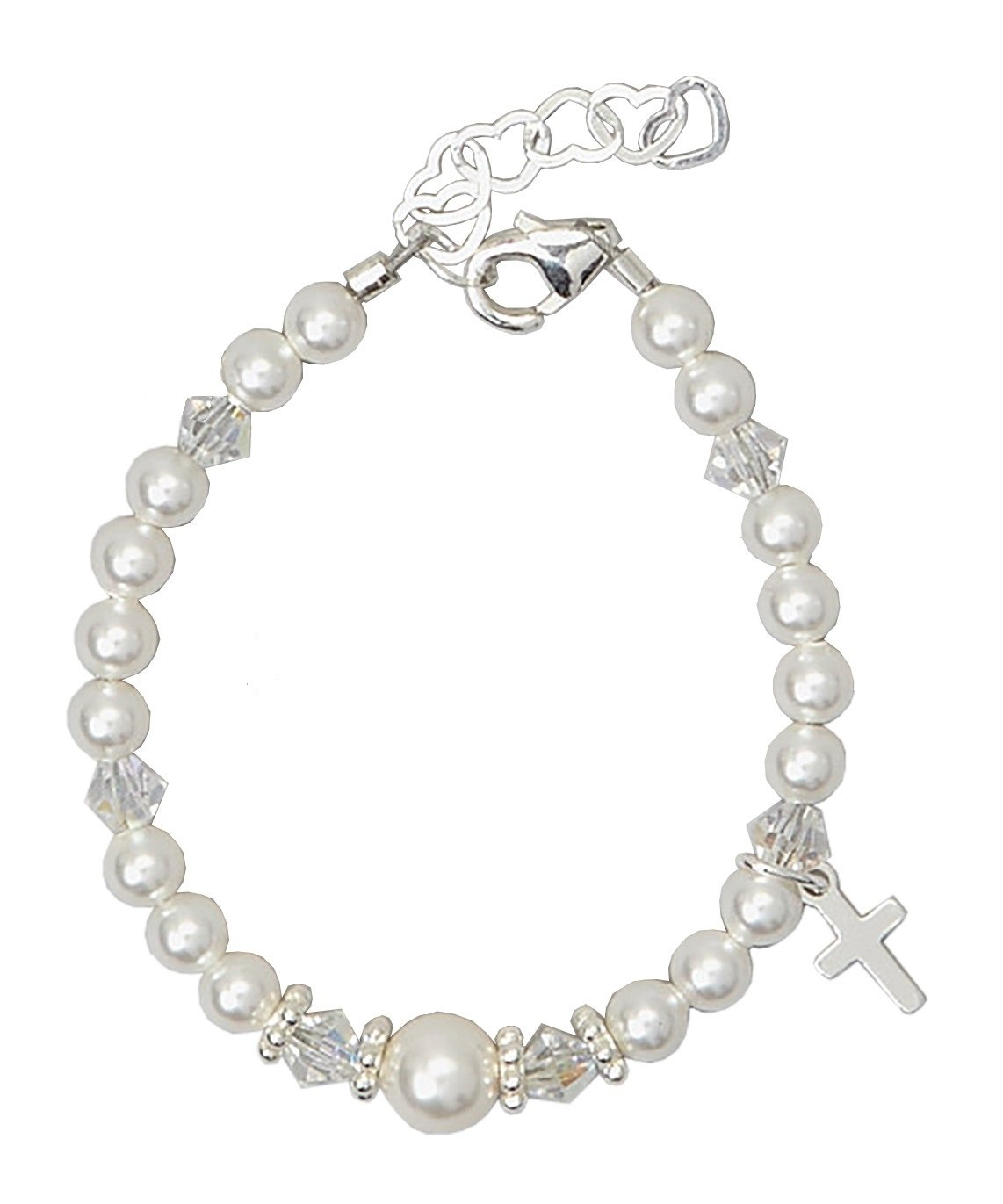 Christening Sterling Silver Cross Charm with White Swarovski Simulated Pearls and Crystal Keepsake Girl Bracelet (BCRS_S)