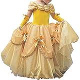 IWEMEK Niñas Bella y la Bestia Vestido de Carnaval Disfraz de Princesa Belle Fuera del Hombro Vestir Traje de Halloween Navidad Cumpleaños Pageant Comunión Fiesta Cosplay 2-13 Años
