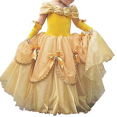 Disfraces para Niñas Bella y la Bestia Vestido de Carnaval Traje de Princesa Belle Vestir para Halloween Fiesta Cosplay Costume Largos Elegantes ...